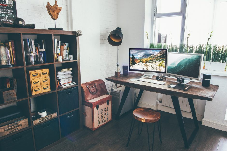 office with desk and shelves