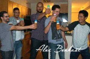 Guys celebrating baby with bottle challenge Alex Benkast